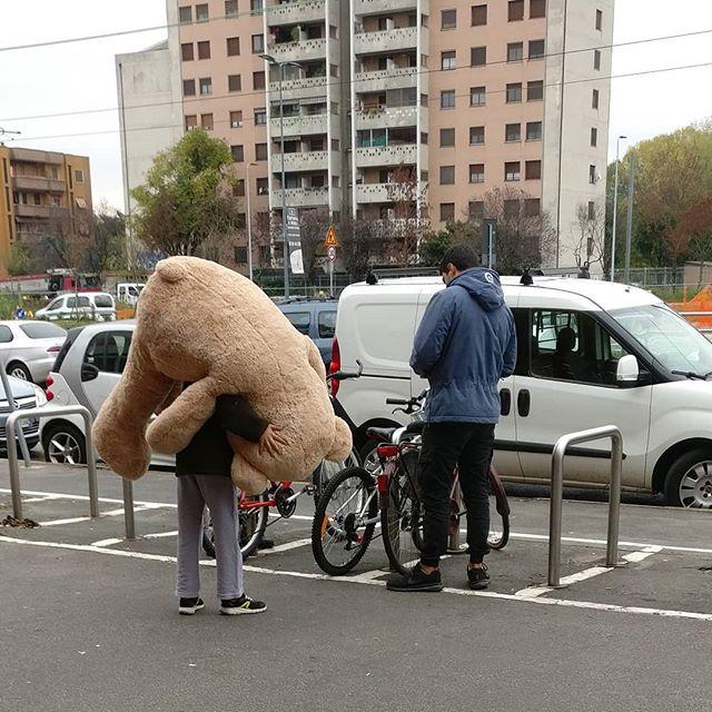 """""""#Papà, papà mi compri un #orso di #peluche? Un orso solo dai! Più non ti chiedo più niente fino a #domani! Lo metto nel mio #letto e dormo con lui, mi proteggerà e mi farà sentire sicuro.""""#big #bear #birthday #present #puppy #puppylove  #orsetto"""